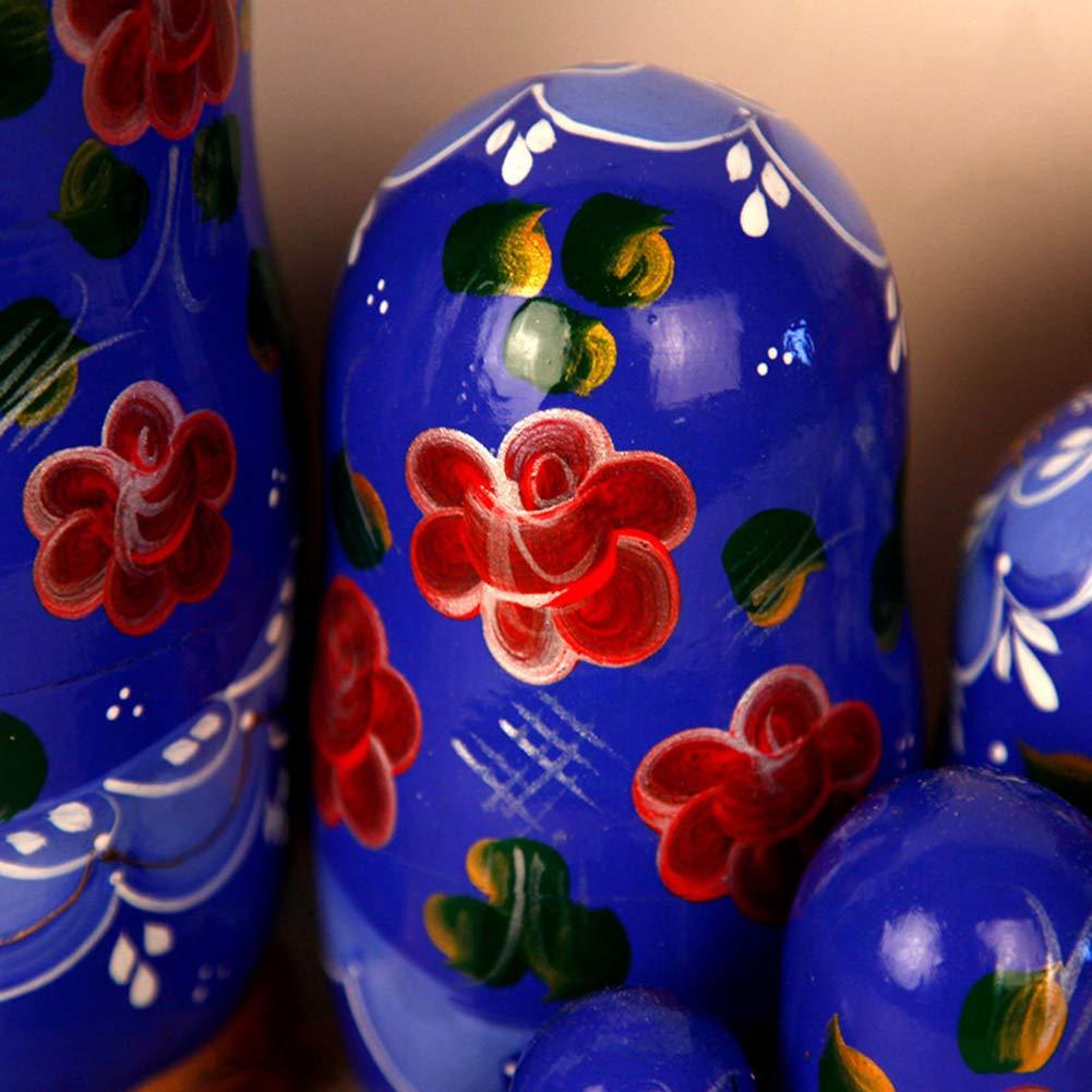 Moonmo 7pcs Beautiful Flower Handmade Wooden Russia Nesting Dolls Gift Russian Nesting Wishing Dolls Matryoshka Traditional by Moonmo (Image #4)