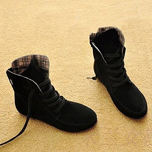 SODIAL(R) Autumn Boots Snow Boots for Women Martin Boots Suede Leather Boots size10 black Dg6xzRxIO