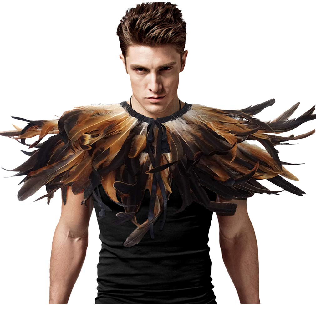 L'VOW Gothic Black Feather Shrug Cape Shawl Halloween Costume for Men Cock Feather