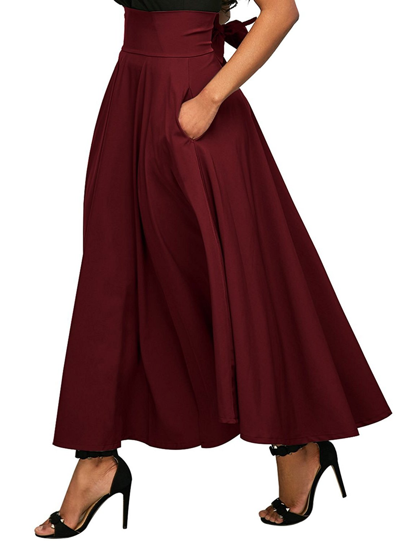 Calvin & Sally Women's Bow Tie Front Slit Dress High Waisted Long Length Skirt (Red S)