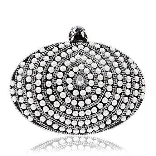 Black Wedding Clutch Chain Shoulder Handbag Evening Pearl Bags Women MGH Party Dress wBXnPqf