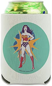 Wonder Woman Vintage Woman Can Cooler - Drink Sleeve Hugger Collapsible Insulator - Beverage Insulated Holder