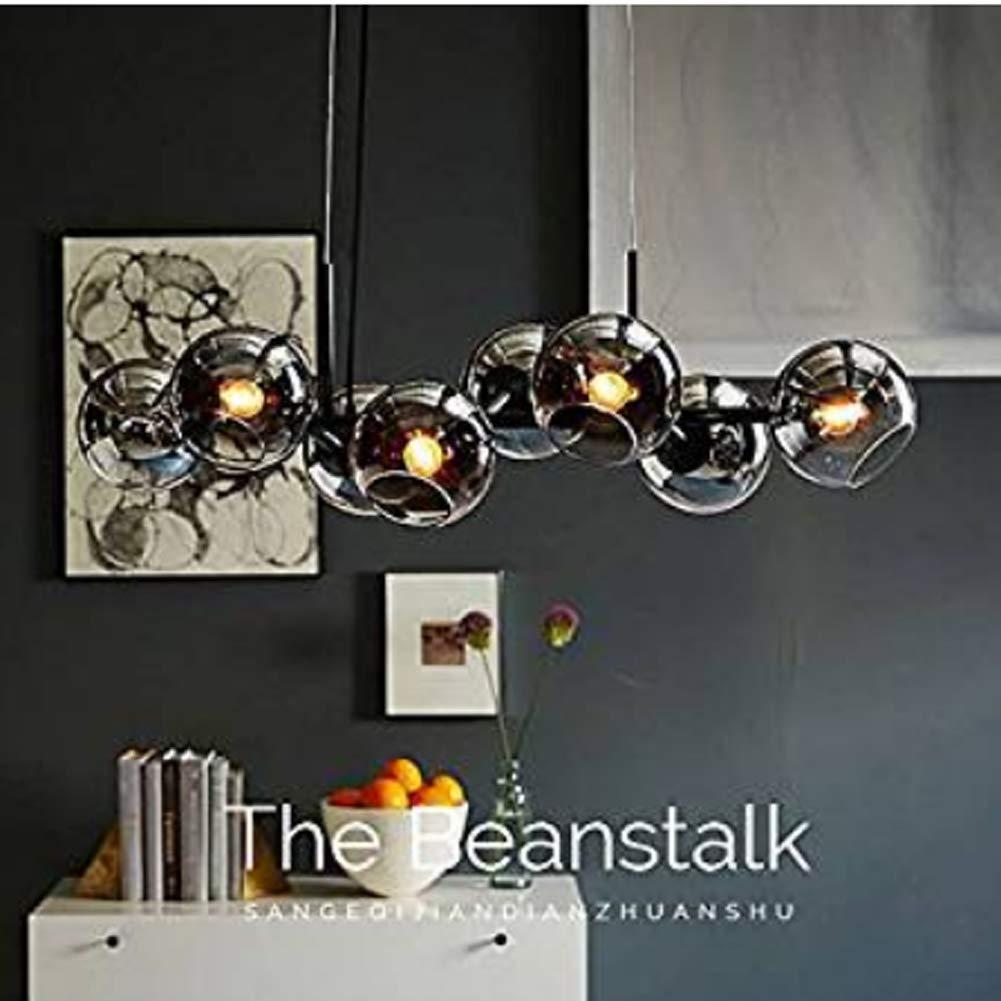 QqHAO LED Kronleuchter Tisch Kronleuchter mit 8 Glaskugel Kronleuchter Küche Esszimmer-Lampe Kronleuchter Kronleuchter LED-Wohnzimmer-Lampe Lampe Lampe in Schirm Lampe Küche Lampe Küche Lampe,Black