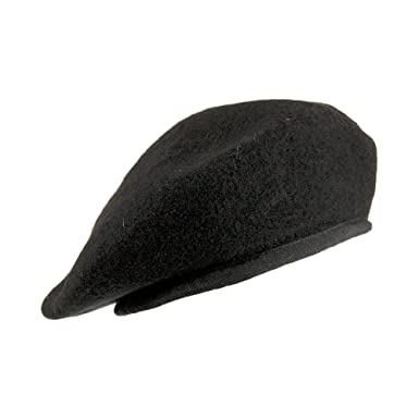 Village Hats Military Beret - Black  Amazon.co.uk  Clothing 89f141b16e6