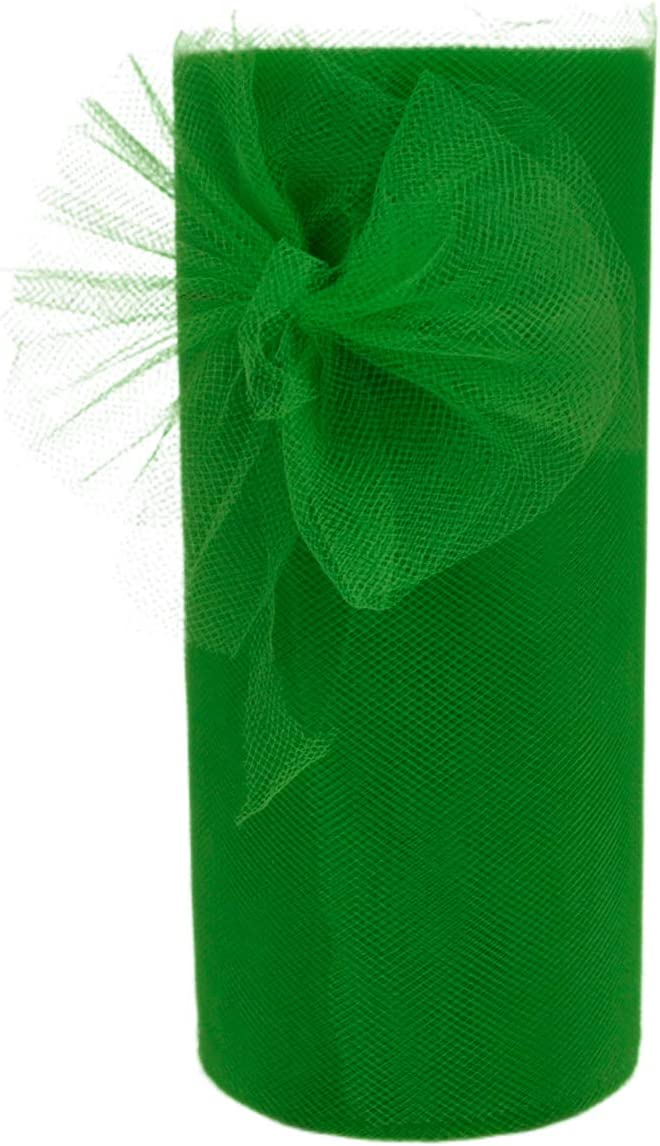 Tulle Rolls Green Tulle Fabric Spool for Party Wedding Decorations Engagement Birthday Baby Shower Tulle Table Skirt Girls Tutus Dress Hair Bands & Tulle Ribbon for Gift Wrapping (Green)