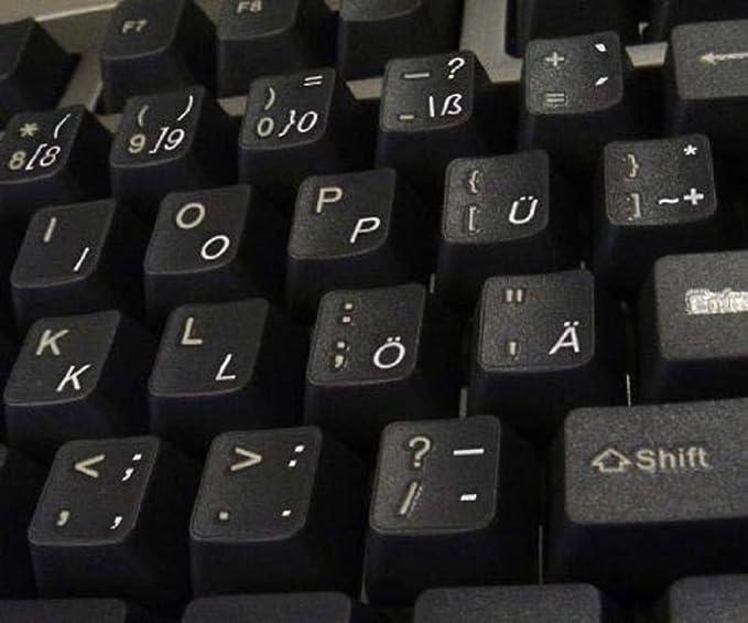 Deutsch transparente Tastaturaufkleber mit Weißer Buchstaben - Geeignet für jede Tastatur