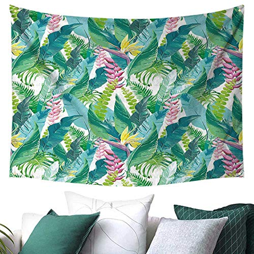 - Leaf Tapestry for Living Room Summer Spring in Exotic Island with Flowers Plumeria Lilac Image Home Decor Curtain 60W x 51L Inch Pink Light Blue Yellow and Green