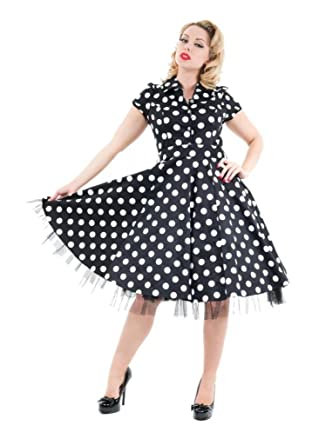32d770e1e8d56 Image Unavailable. Image not available for. Color: H&R London 50's  Housewife Dress Black White Big Polka Dot