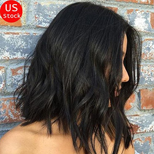 S-noilite 10 inch U Part Lace Front Wigs Jet Black Synthetic Hair Daily Costume Full Wig For Black Women Ladies Heat Resistant (lace wig, lace front wig 1B Natural black --Wave) (Black And White Lace Front Wig)