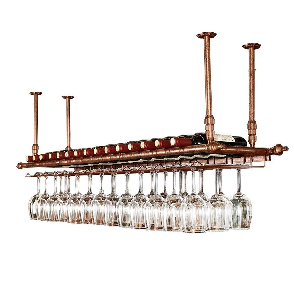 BZEI-ワインホルダー 天井ワインラック調節可能な高さ壁掛けワインボトルホルダー金属鉄ワイングラスラックゴブレットステムウェアラックヴィンテージスタイルクリエイティブバー装飾ディスプレイシェルフ - ブロンズ、60/80/100 / 120cm ( サイズ さいず : L100*W30cm ) B07BTHMNCS L100*W30cm  L100*W30cm