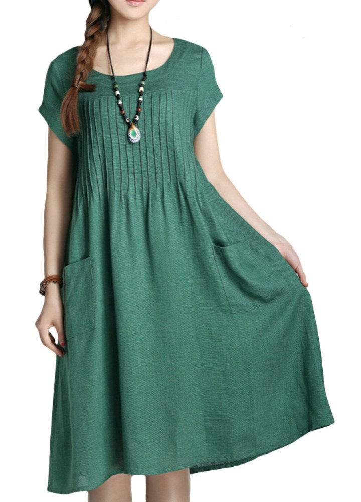 Minibee Women's Summer Solid Color Dress with Two Pockets Style 1 Green-L