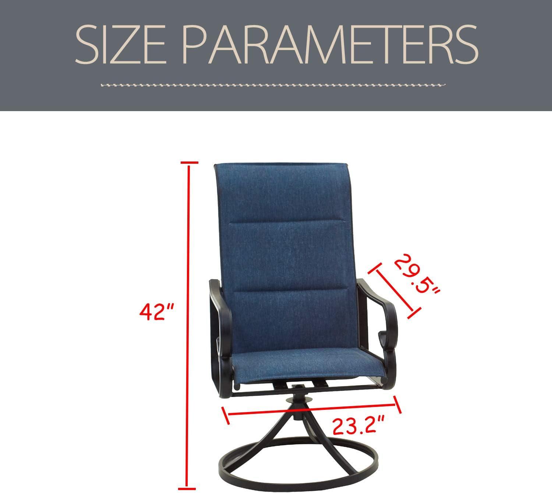 LOKATSE HOME 2 Pieces Outdoor Bistro Furniture Patio Dining Set Metal Swivel Single Chairs, Blue : Garden & Outdoor