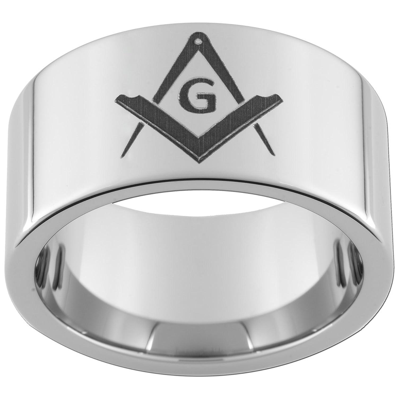 12mm Tungsten Carbide Ring Mason Compass and Square