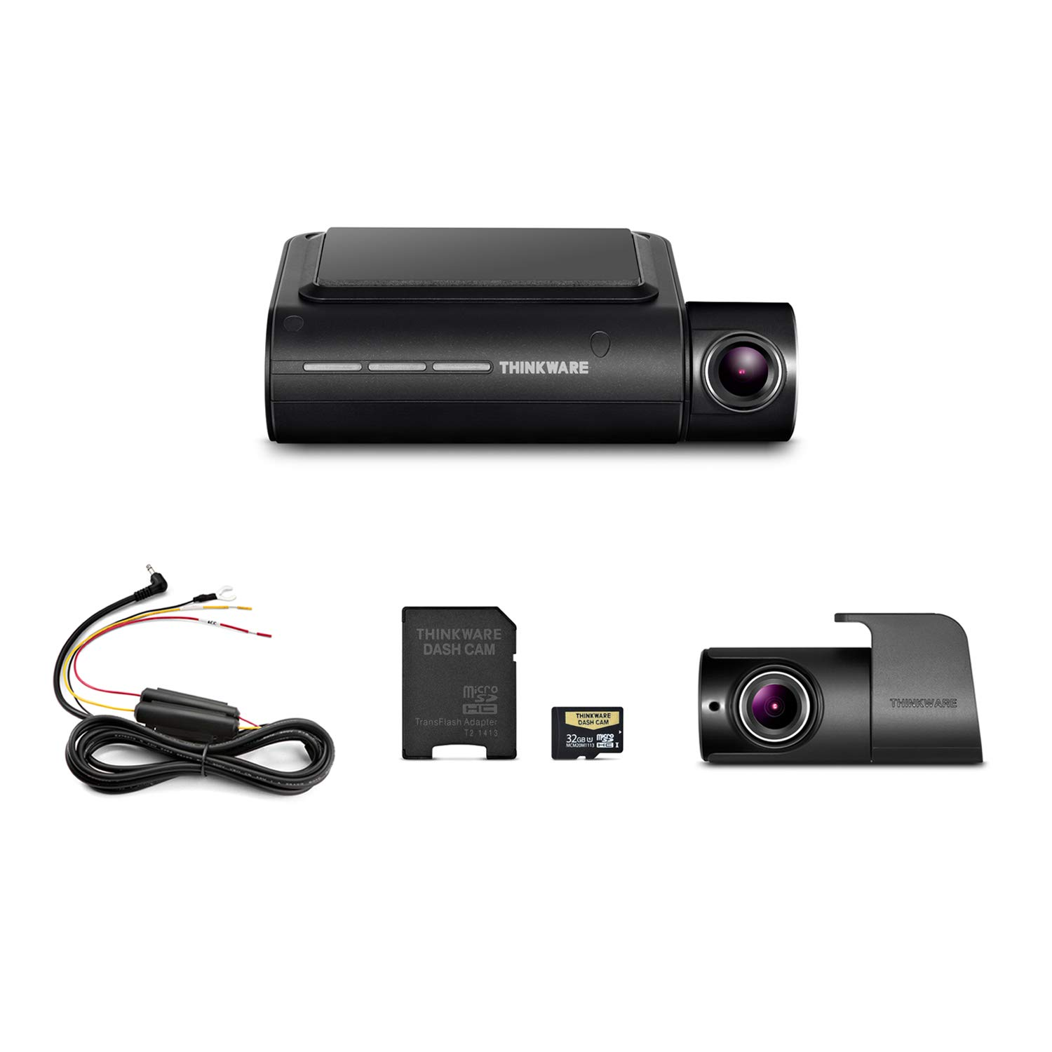 Thinkware F800 Pro Dash Cam Front and Rear Full HD 1080P Sony Starvis Super Night Vision | Cigarette Power Cable | 32GB MicroSD Card Incl. | Built-in Wi-Fi and GPS | Parking Mode