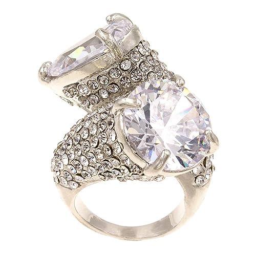 Amazon.com: Moda Gaudy anillos de boda fiesta declaración cz ...