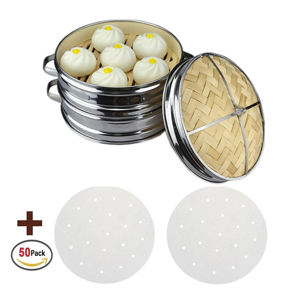 MineDecor 10 Inch Bamboo Steamer Basket 2 Tier Stackable Kitchen Steam Rack Cookware With Lid and 50 Perforated Parchment Liners for Buns Veggies Dumplings