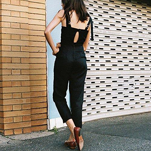 SKY Hot to wear it !!!Mujeres Arnés ajustable pantalones pieza de pestaña sin mangas Strap Sleeveless Backless Jumpsuit Long Wide Leg Trousers Negro