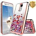 ZTE Blade Spark Case (Z971), ZTE Grand X4 Case (Z956) w/ FREE [Tempered Glass Screen Protector] NageBee Quicksand Liquid Floating Glitter Flowing Sparkle Bling Luxury Clear Soft Case -Rose Gold by NageBee