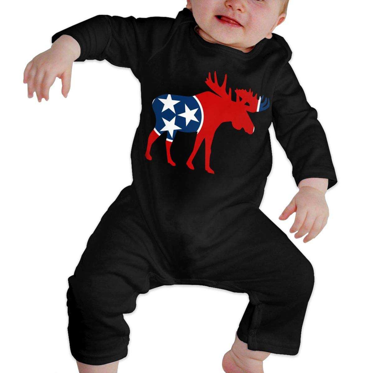 Soft Tennessee Moose Playsuit U99oi-9 Long Sleeve Cotton Bodysuit for Unisex Baby