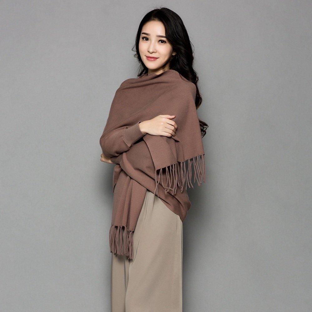 HAIZHEN alla moda alla moda Sciarpa femminile più spessa con maniche Ufficio Cloak Autunno e inverno caldo Scialle in 12 colori Morbido e caldo ( Colore : Khaki )
