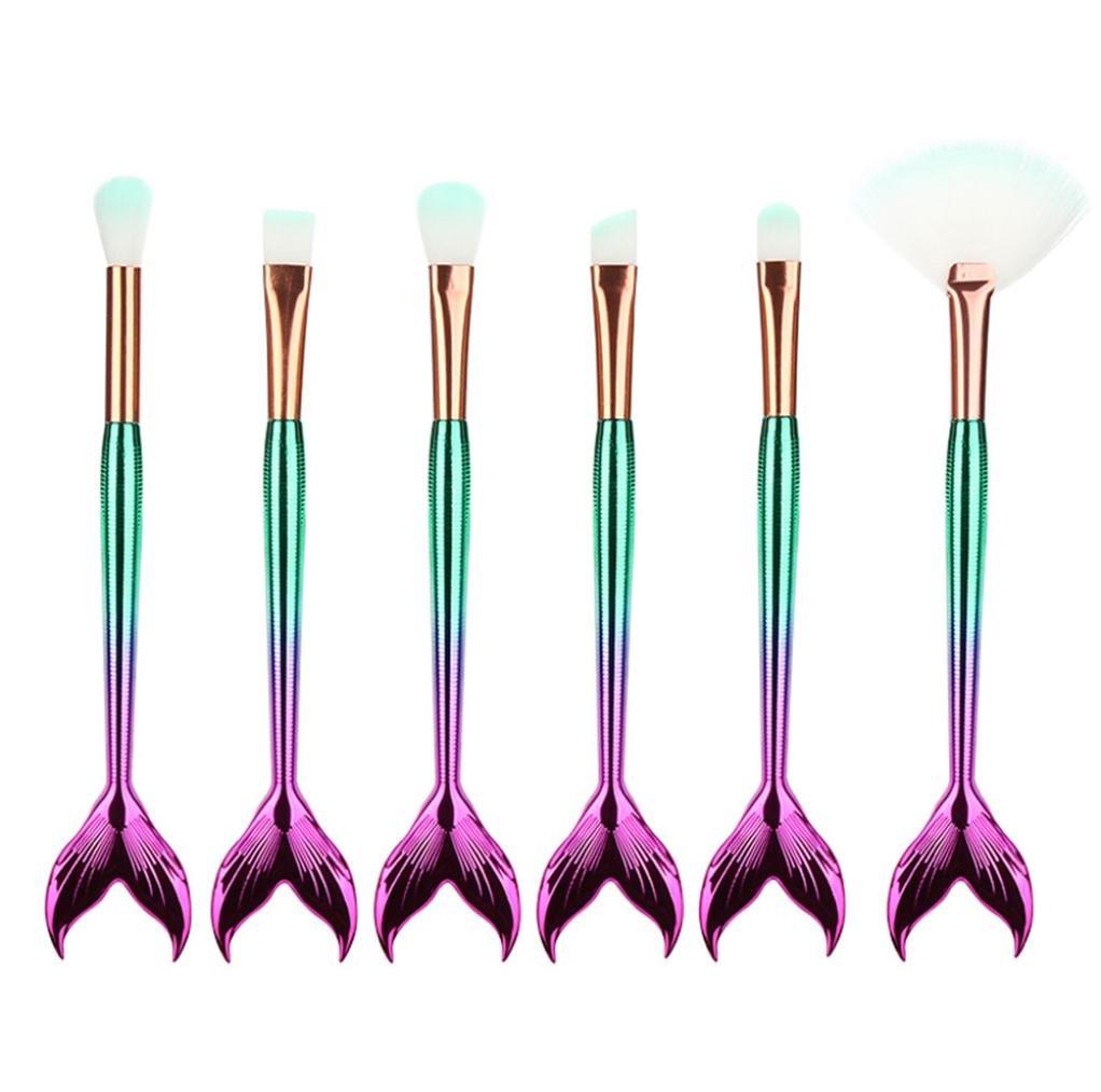 Makeup Brush Set, KEERADS Eyeliner Eyeshadow Blending Mermaid Brush Makeup Tools Cosmetic Concealer Brushes Kits (5 PCS, A)