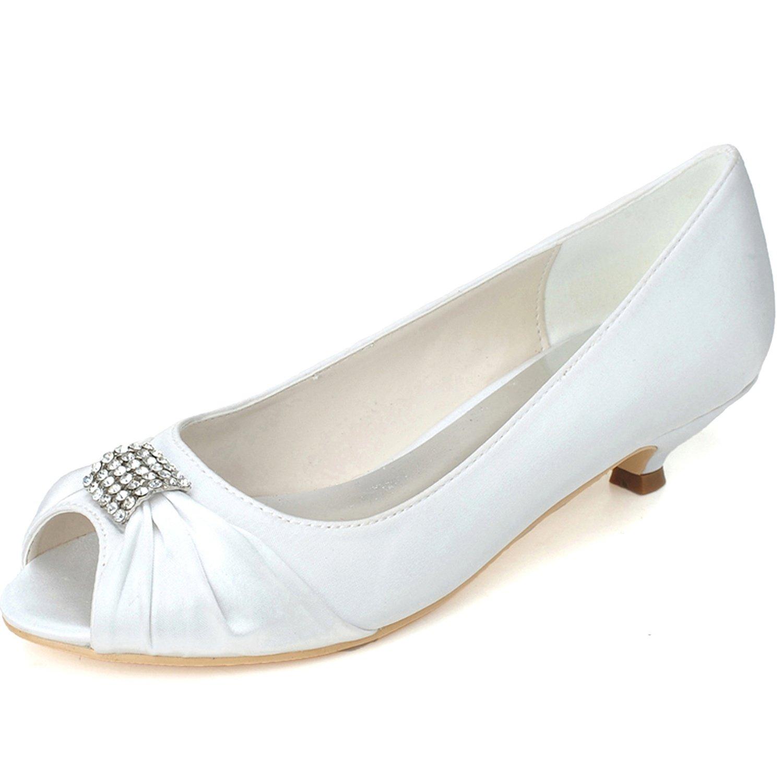 Elobaby Zapatos De Boda De Las Mujeres del Partido del OtoñO De SatéN Corte Peep Toe Prom Sandalias/3.5 Cm TalóN/Vestido 35 EU|White