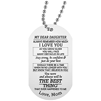5ffc35b70f6 Amazon.com  ThisYear My Dear Daughter Dog Tag Personalized - I Love ...