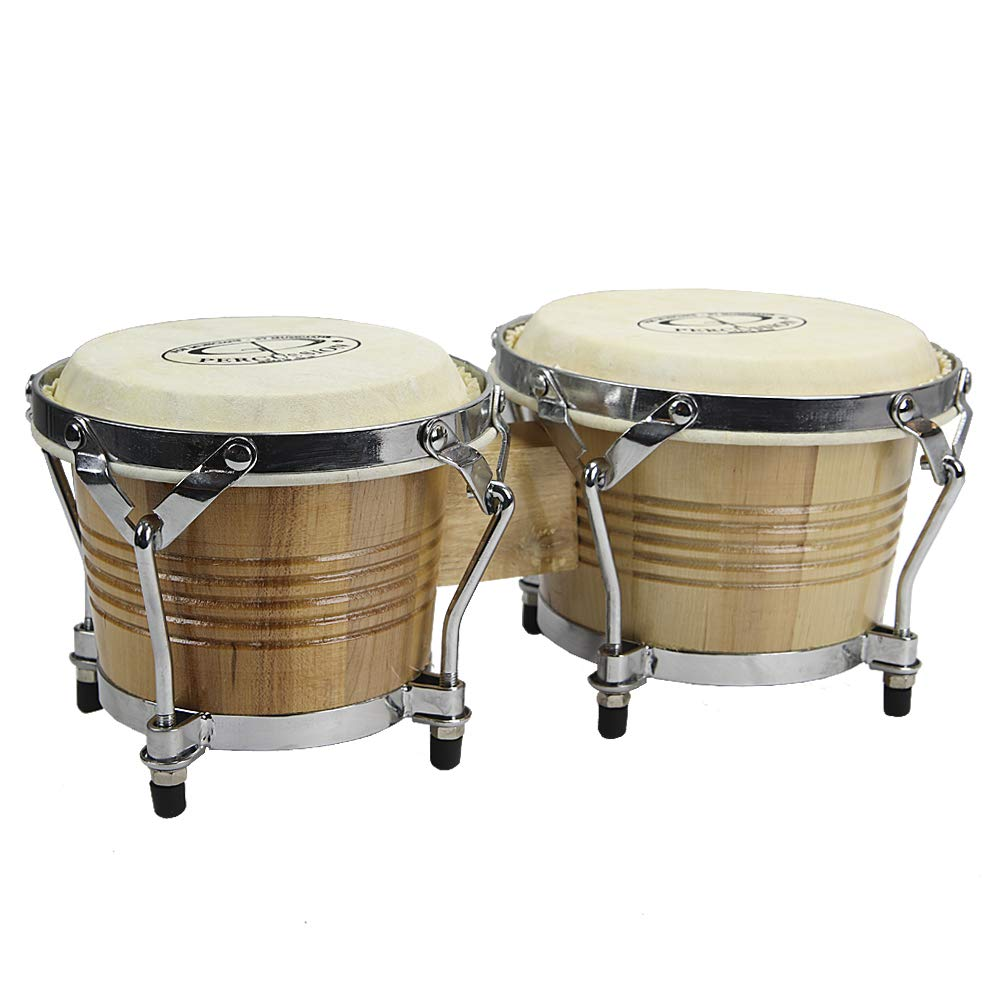 GP Percussion B2 Pro-Series Tunable Bongos 6 & 7 Inch (Clear Finish, Hickory) by GP Percussion