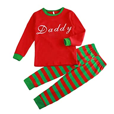 282ae6050e811 Hzjundasi Assorti Famille Ensemble Pyjama - L automne Hiver Noël des  Lettres Imprimé Vêtements Famille