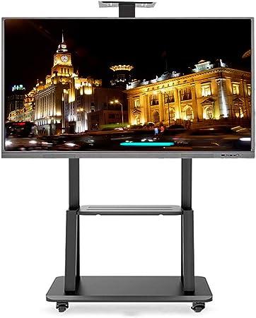 Soporte TV Trole Carro for TV móvil con bandeja, ruedas giratorias giratorias con cerradura de servicio
