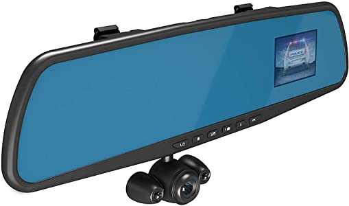 "Official HD Mirror Cam – As Seen on TV Dash Cam 350°, Motion Detection, 2.5"" LCD, 720P HD, Dashboard Camera..."