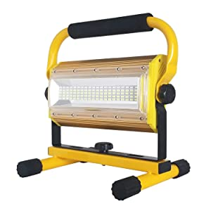 Rechargeable LED Work Light,SONEE 100W Super Bright Waterproof Flood Light Portable Work Lights with Stand for Camping Garage Workshop Construction Site Repairing Job Site Light (Yellow)