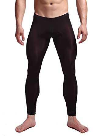 405913a43d4 K-Men Men's Black Transparent Trousers Long John Pants Muscle Tights  Leggings M