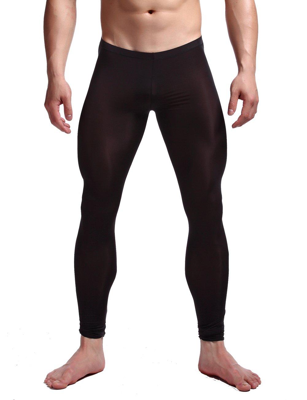 K-Men Men's Soft Mesh Transparent Leggings Long Johns Pants Underpants Black XL
