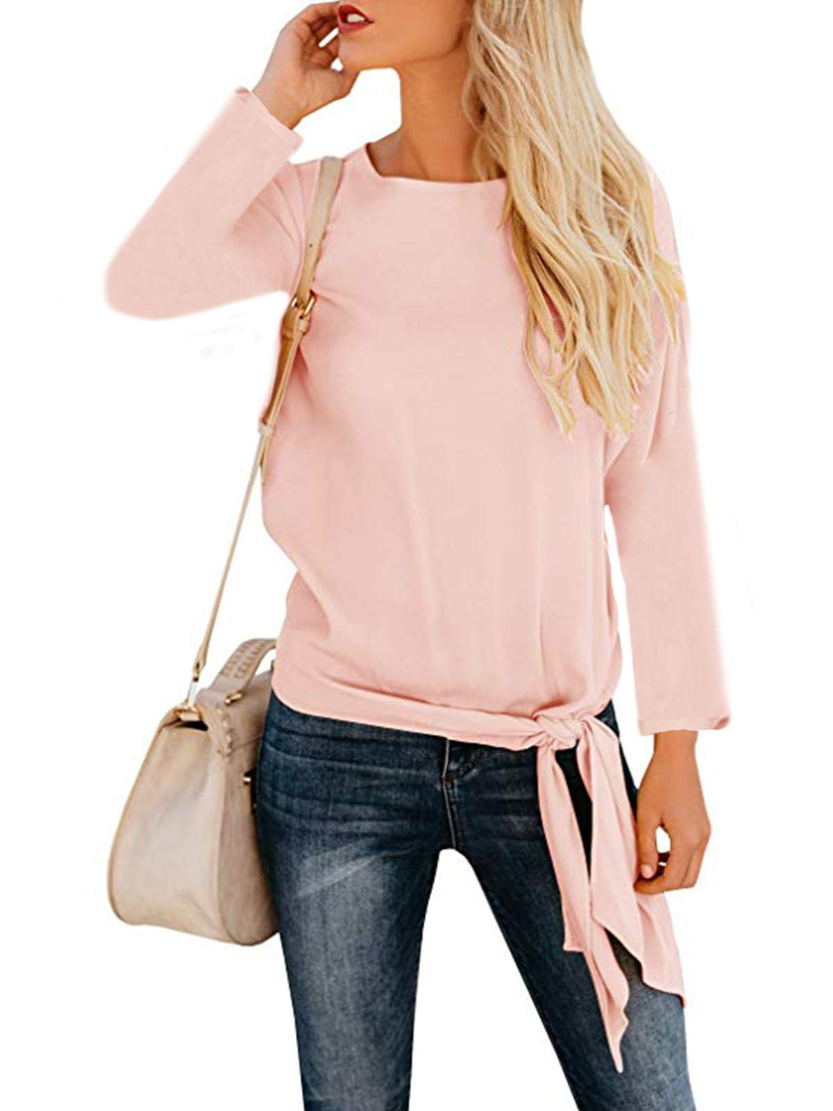 VYNCS Women's Casual O Neck Tie Knot Front Blouse Solid Loose Fit Long Sleeve Tee Top T-Shirt Blouses (Pink, Medium)