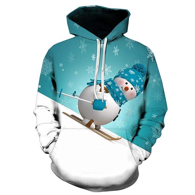 Sudadera para Parejas Otoño Invierno Amlaiworld Sudadera Casual de Manga Larga con Capucha y Estampado de otoño Invierno para Hombre Mujer Camisa navideña: ...