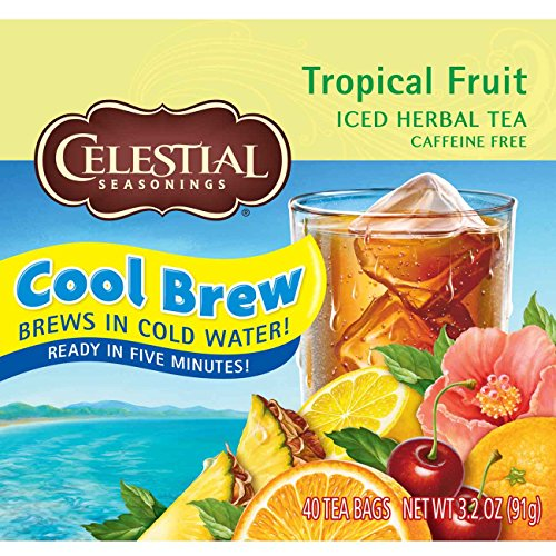 Celestial Seasonings Black Caffeine Free Tea (Celestial Seasonings Iced Tea, Tropical Fruit Cool Brew, 40 Count (Pack of 6))