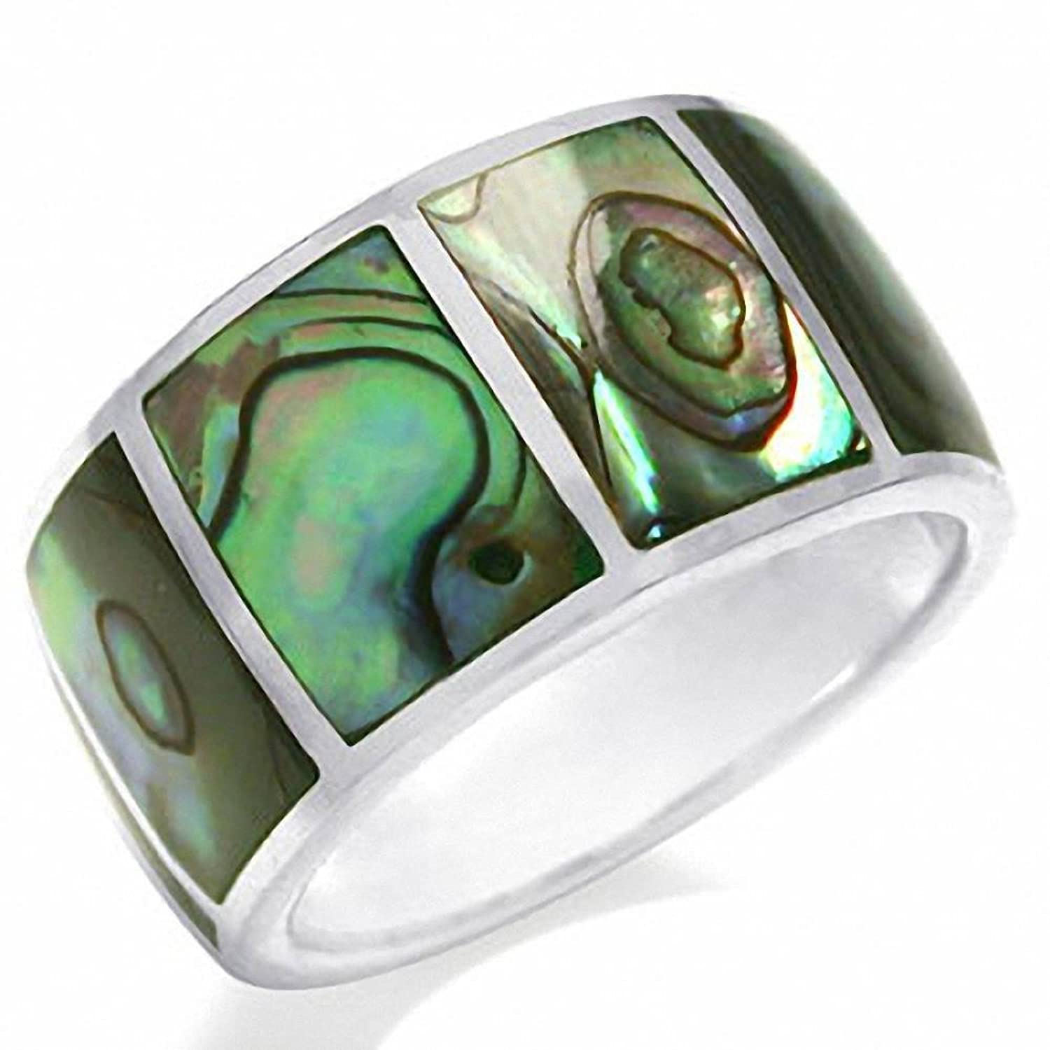 band shell jewelry bling abalone unisex wedding fj rings tungsten ring inlay