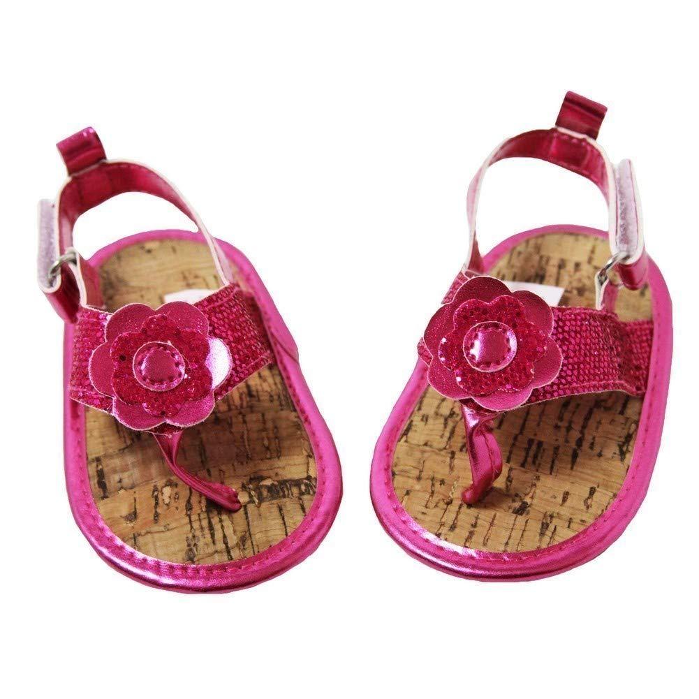 Dress Up Dreams Boutique Baby Girls Hot Pink Metallic Flower Strap Flip Flop Sandals 0-18M