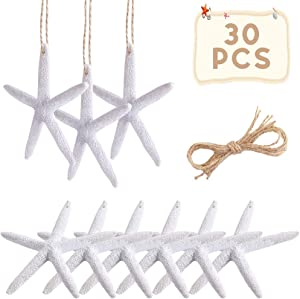 OurWarm 30pcs Resin Pencil White Starfish Decor for Weddings, Dried Hanging Starfish Christmas Tree Ornaments with Hemp Rope for Home and Craft Projects, 4-Inch