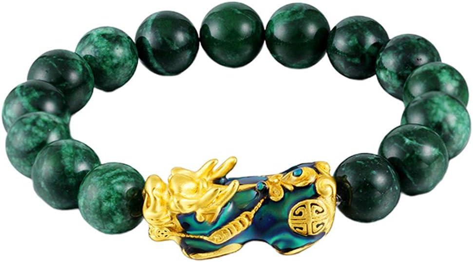 F Fityle Chino Feng Shui Obsidiana Pixiu Pi Yao Pulsera Riqueza Buena Suerte Regalo De Joyería - Verde, Un tamaño