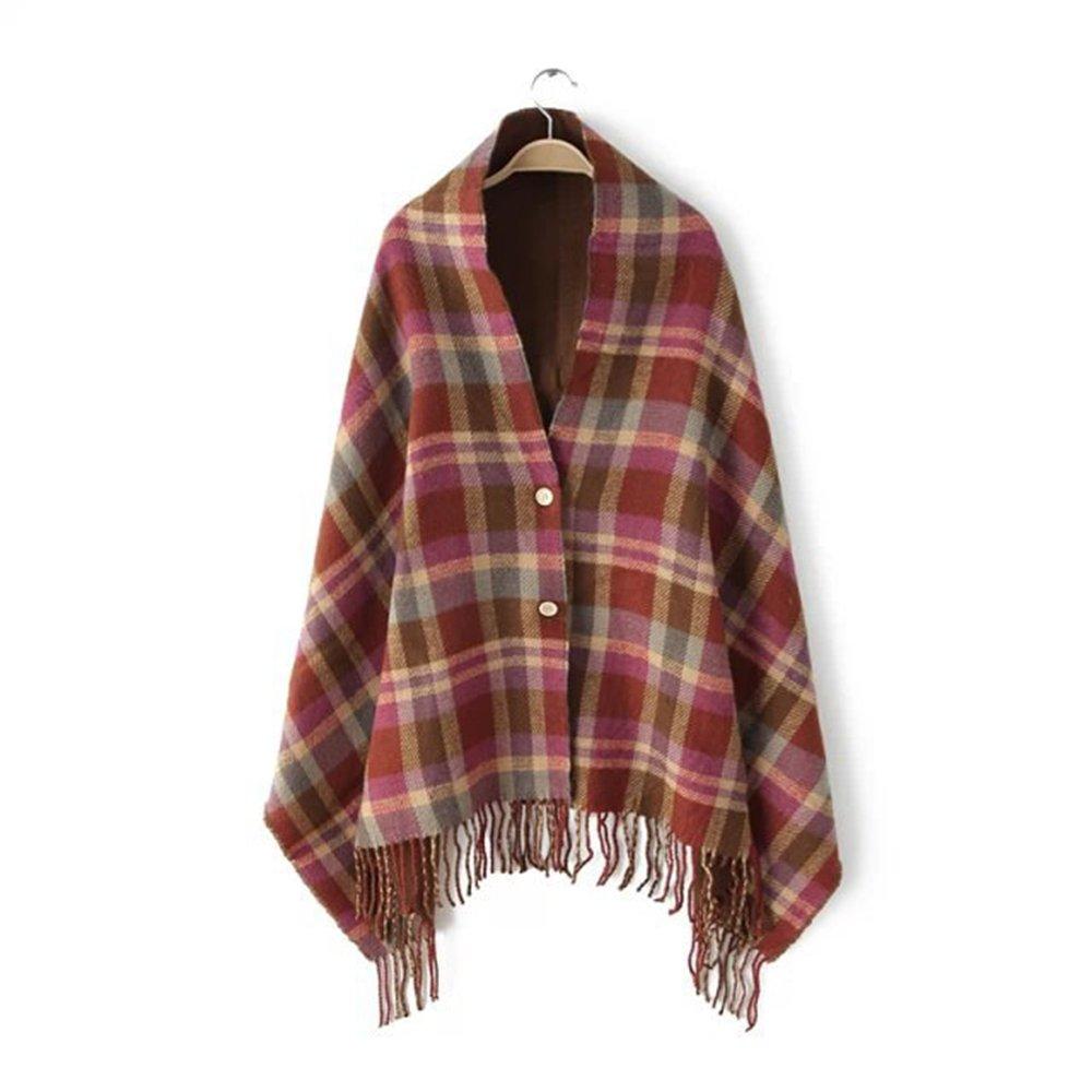 EtechMart Soft Artificial Wool Spring Women Plaid Fringed Pashmina Wrap Shawl w/ Tassels 71x25 Coffee