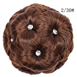 JJLIKER Women Synthetic Hair Bun Extensions Messy Hair Diamond Scrunchies Clip In Pieces Hair Wigs Donut Updo Ponytail