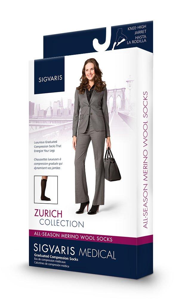 Amazon.com: Sigvaris 242C 20-30mmHg All Season Wool Womens Compression Knee High SL, Black: Health & Personal Care