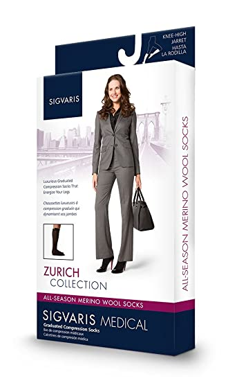 Sigvaris 242C 20-30mmHg All Season Wool Womens Compression Knee High SL, Black