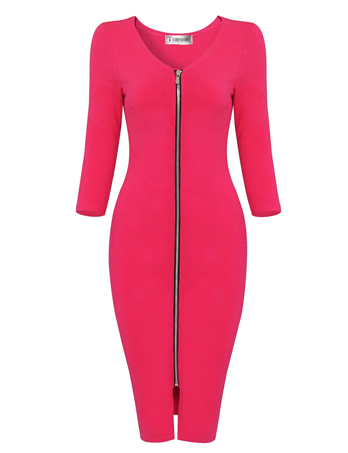 Hot Pink TAM WARE Womens Sophisticated Front Zip 3 4 Sleeve Bodycon Midi Dress