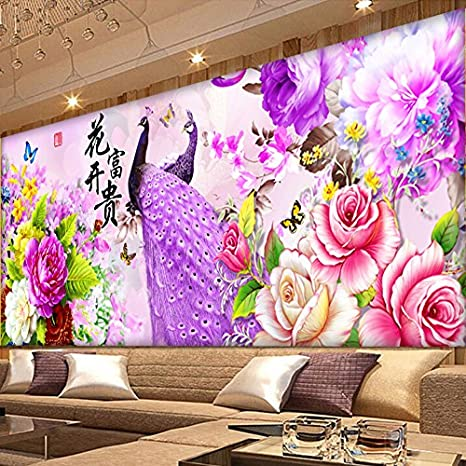 AIGUFENG Hecho a mano en punto de cruz acabado flor rica púrpura peacock pavo real bordado sala de estar bordado grandes pinturas decorativas,146 * 62: ...