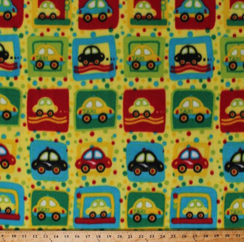 Polka Dots Mittens - Fleece Cars Taxis Taxi Cabs Vehicles Squares Polka Dots Kids Yellow Fleece Fabric Print by the Yard (5057M-12A-frogs)
