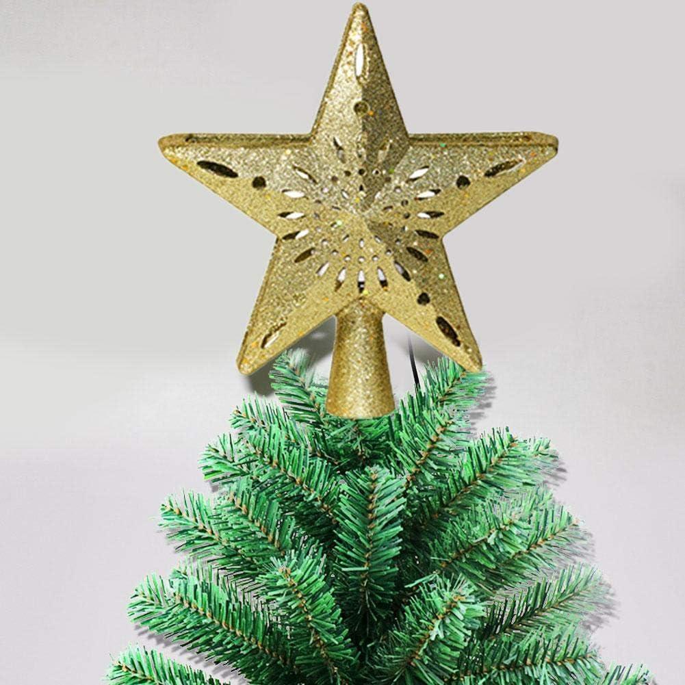 3D Hollow Star Weihnachtsbaum Topper Beleuchtete Sparkling Star Tree Topper Mit Schneeflocke Projektionslicht F/ür Christbaumschmuck Drehbare Projektor Tree Star fancyU Weihnachtsbaum Star Topper
