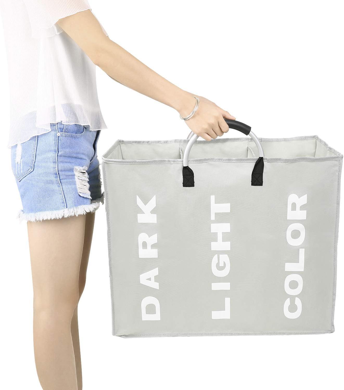 esonmus pieghevole lavanderia a 3 sezioni borsa pieghevole cesto della biancheria durevole Oxford tessuto lavanderia cesto vestiti Sorter portatile multifunzione borsa di stoccaggio con manico in lega